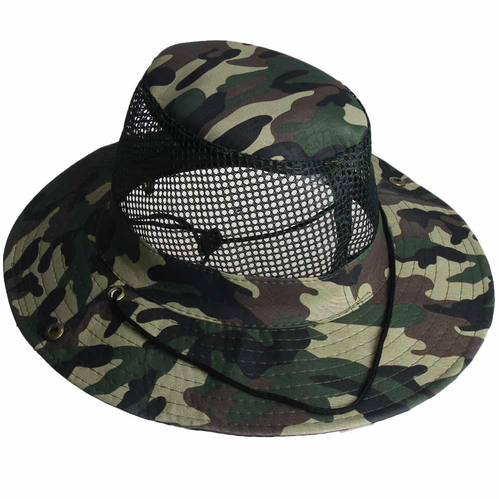 cff8d370a26 2019 High Quality Outdoor Camouflage Mesh Sunshade Fishing Bucket Hat  Comfortable Breathable Cap Hiking Climbing Fishing Camping From  Achilles qq