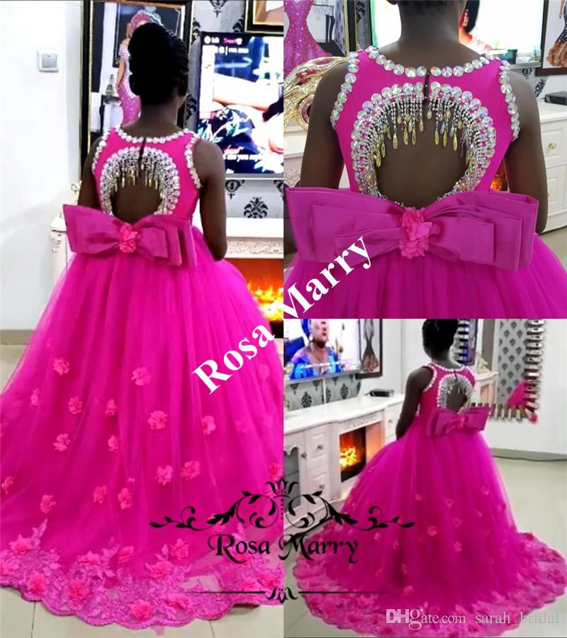 72138ddd1 Luxury Crystal African Girls Pageant Dresses 2018 Ball Gown 3D ...