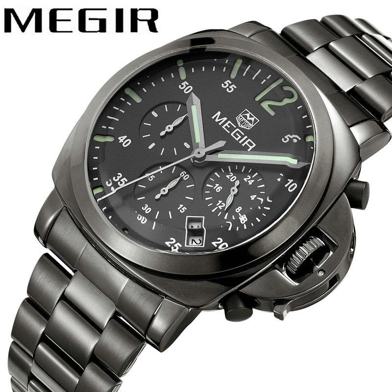 ee6bbb09837f Compre MEGIR Reloj De Moda Para Hombres Reloj De Cuarzo Cronógrafo 3 Dial 6  Manos Calendario Correa De Acero Inoxidable Relojes Para Hombre De Primeras  ...