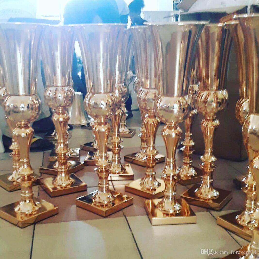 2019 Gold Metal Flower Vase Silver Tall Vases Royal Gold Trumpet Vase Wedding Centerpiece Event