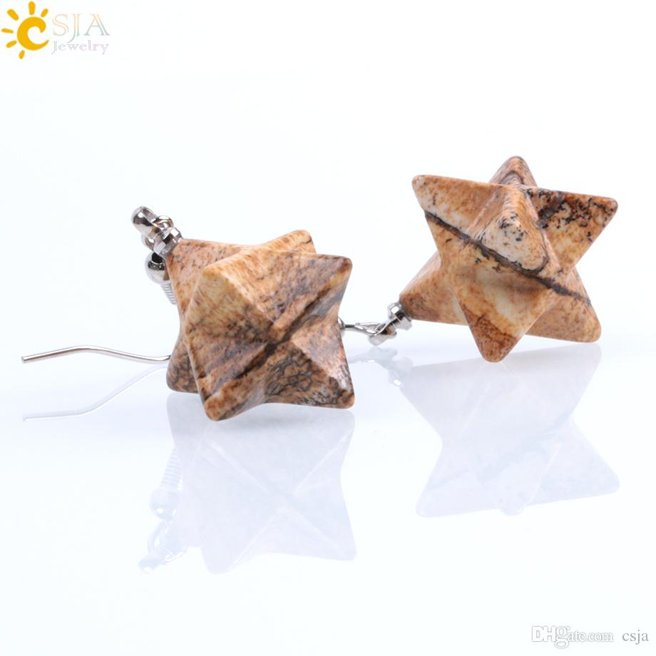 CSJA Natural Gem Stone Star Pendant Drop Earrings Women Statement Retro Crystal Opal Lapis Lazuli Reiki Vintage Earrings Jewelry Gift F021