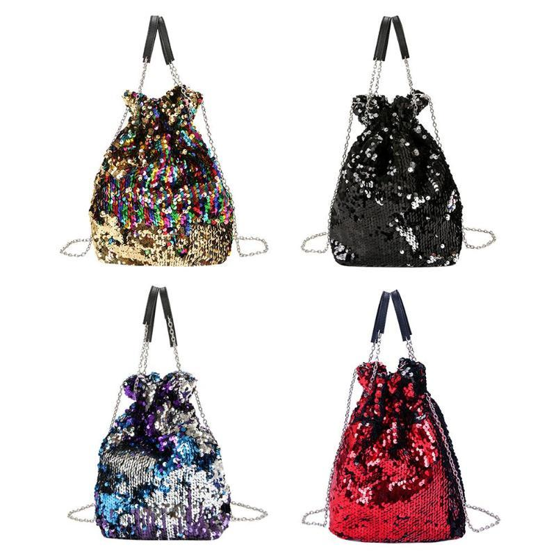 1f0879552f Women Bag Girl Sequined Bucket Bags Fashion Bling Sequins Shoulder Bag  Female Chain Drawstring Bag Bolsa Women S Handbags 2018 Handbags Purses  From ...