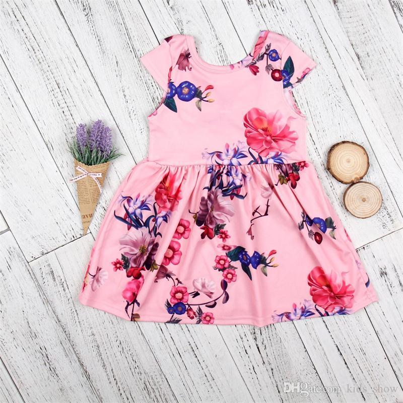 bambina carina Abito stampato a fiori Princess Party Hollowed Back Big Bow vestito estivo in fresco cotone morbido