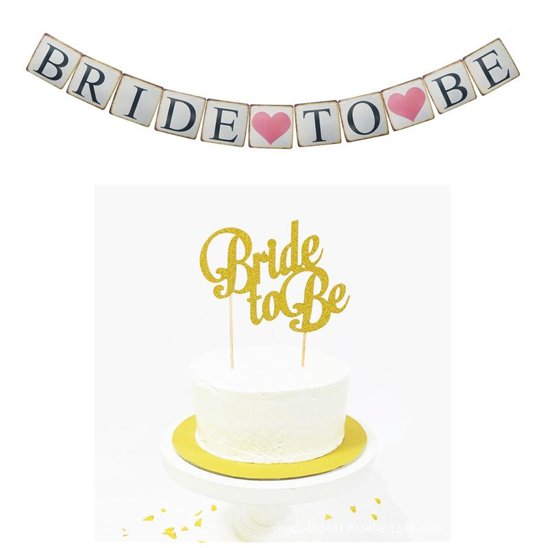 ZLJQ Glitter Gold Bride To Be Party Cupcake Topper BRIDE Party Banner for Bridal Shower Wedding Bachelorette Party Decorations