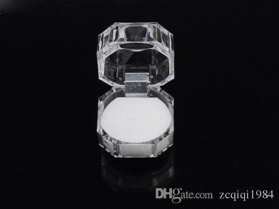 Nova chegada popular Portátil Acrílico Transparente Anéis Brinco Caixa de Exibição de Jóias de Casamento Caixa de Pacote Por Atacado Livre