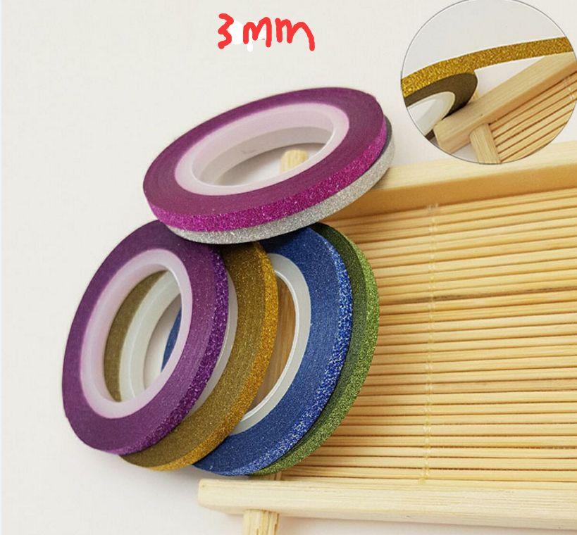 6 rollos / Colores Mezclados glitter bling Rollos Línea de cinta adhesiva Nail Art Tips Decoración Sticker belleza Decoración Pegatinas