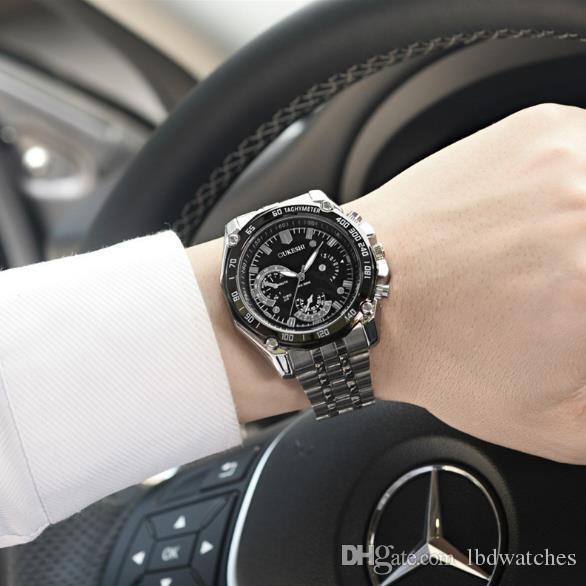 8fcf9744388a Compre Reloj De Cuarzo Resistente Al Agua De Alta Calidad Reloj De Pulsera  De Acero Reloj De Cuarzo De Hombres De Negocios De Alta Calidad Simple Y  Generoso ...