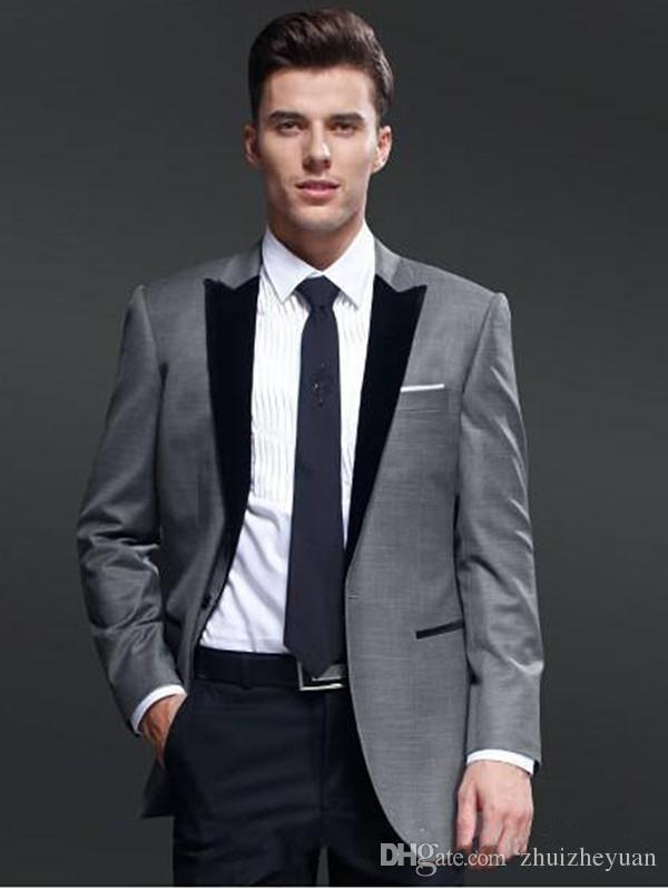 2018 New Design Light Grey Groom Tuxedos Cheap Two Pieces Groomsmen
