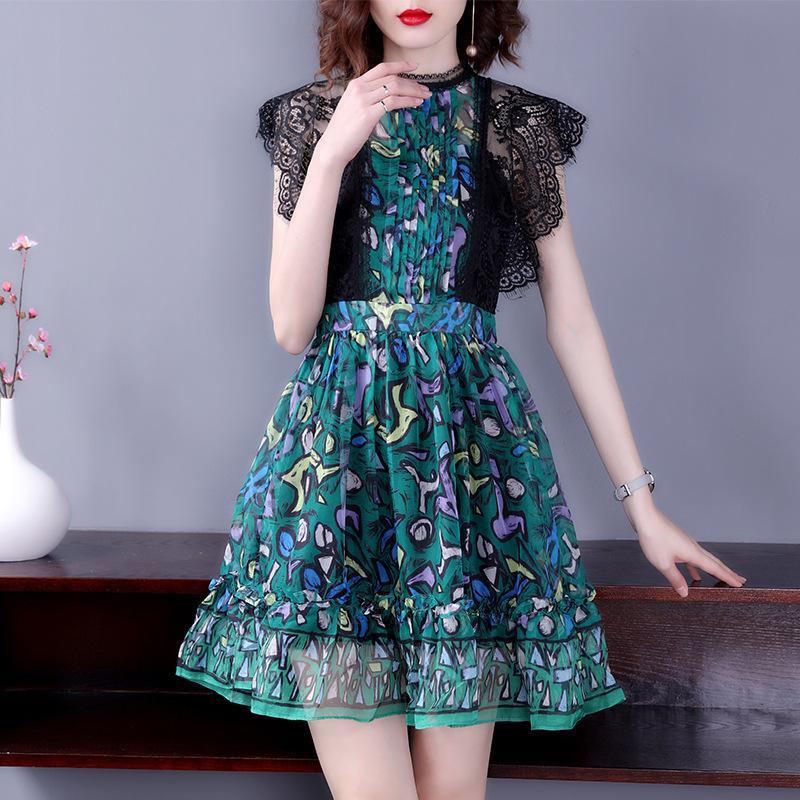 119d9026d65 2019 Summer Boho Dress 2018 Cute Sexy Perspective Lace Chiffon Tunic Short  Dress Women Sleeveless Flower Vacation Green Beah Dresses From Qingchung