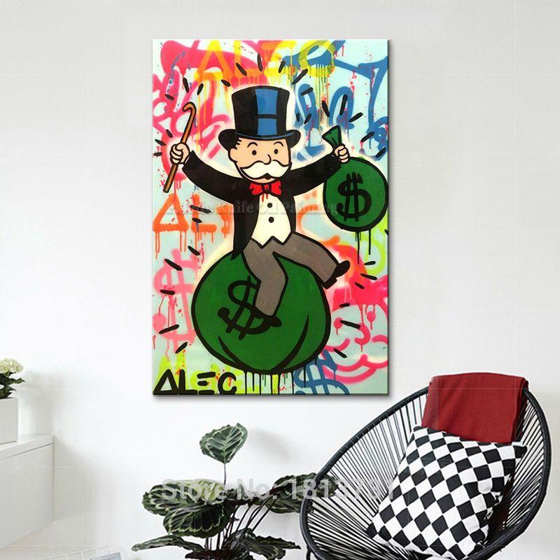 2018 Alec Pop Art Painting On Canvas Street Urban Money Art Acrylic ...