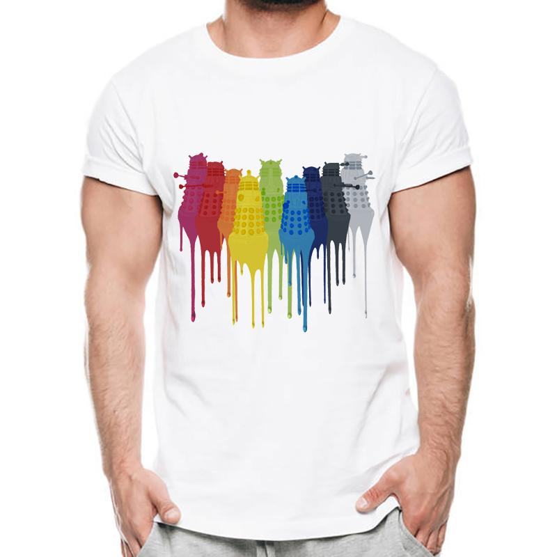 7190cf1e 2018 Newest Hand - Painted Dalek / Wholesale Discount Eeveelution Pritn  Men's T-shirt Funny Rainbow Draw Dripping Design