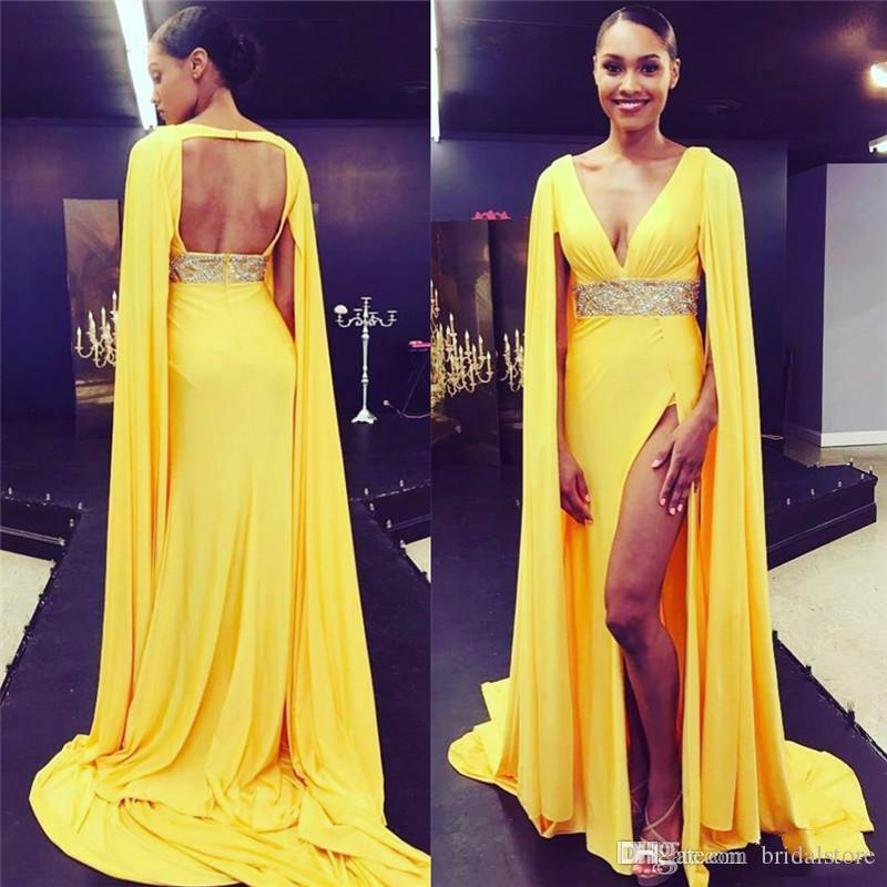 b84ba3c9ecf Hot Dubai Yellow Prom Dresses With Capes Cowl Deep V Neck High Split Formal  Evening Gowns Open Keyhole Back Beaded Celebrity Red Carpet Sale Prom  Dresses ...