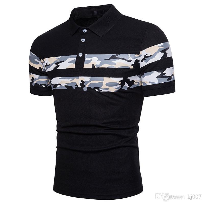 New Brand Camo t shirts for men Italy Fashion Poloshirts Men High Street Stripes Design Mens Polo Shirts