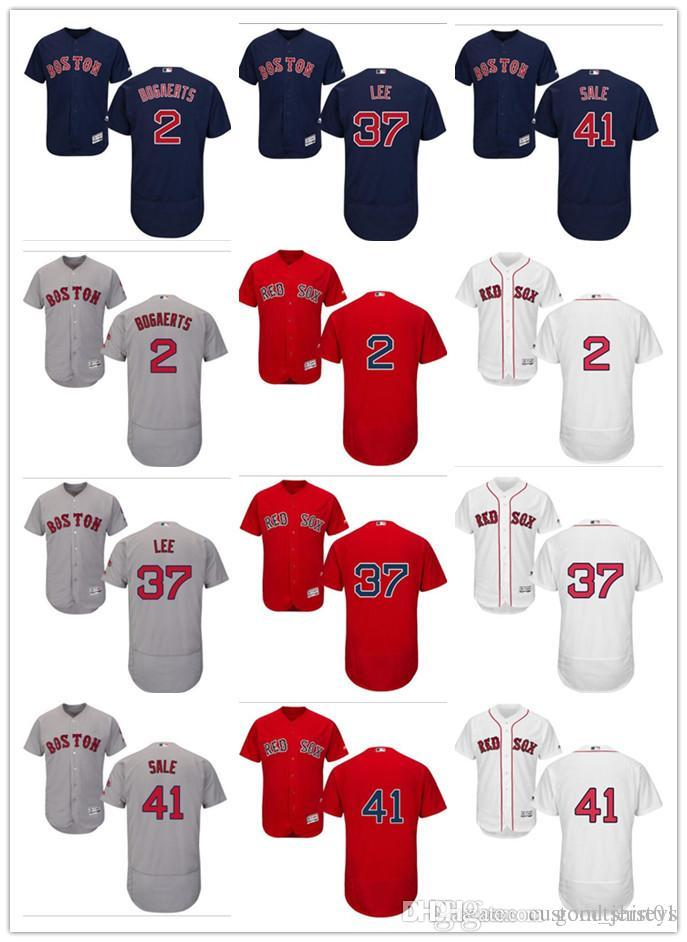 online store a4e02 5ba30 custom Men women youth Majestic Red Sox Jersey #2 Xander Bogaerts 37 Bill  Lee 41 Chris Sale Home Blue Red Baseball Jerseys