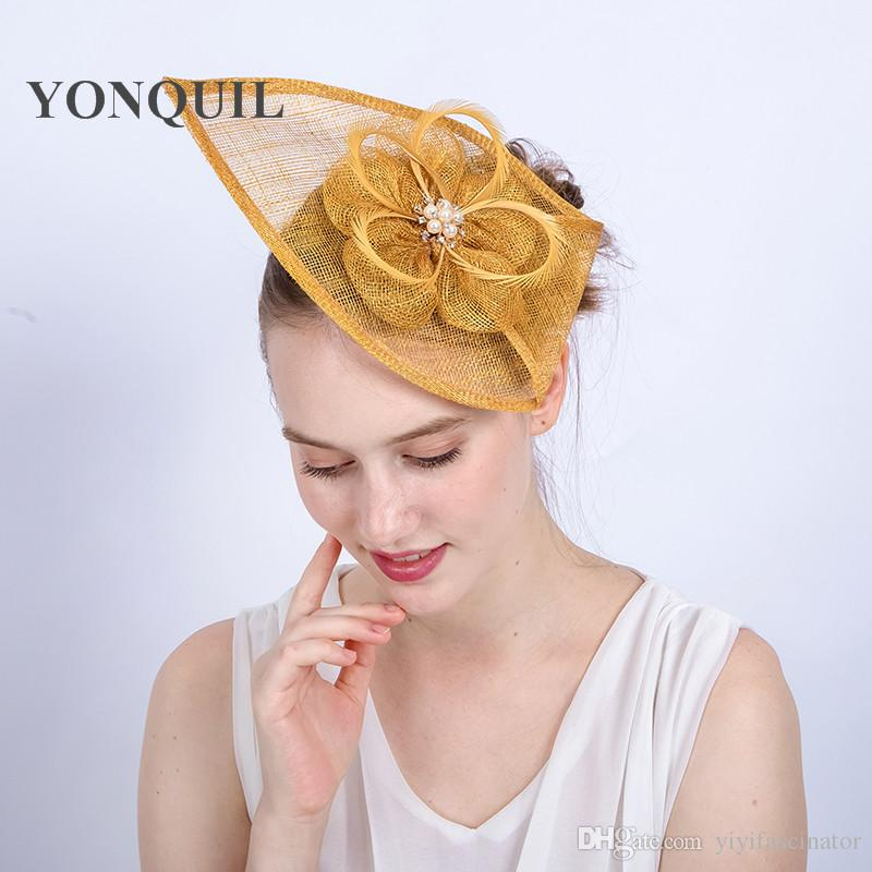 NEW ARRIVAL Design Kentucky Sinamay Fascinators Gold Feather Derby Occasion Church  Hats Women Bridal Wedding Headpieces SYF153 Hats Vintage Summer Wedding ... 7af3b8b3257