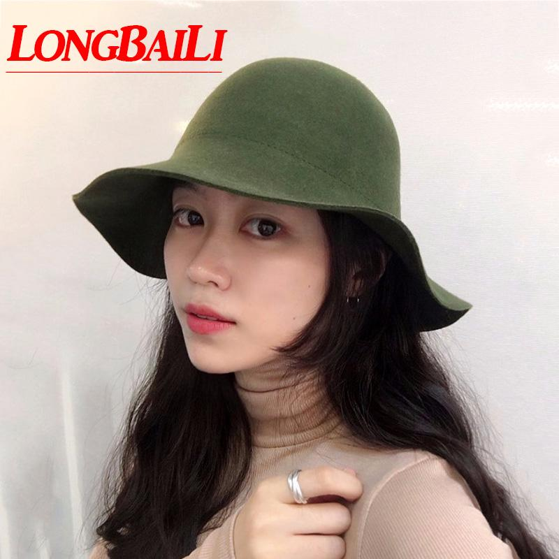 2019 Winter Women Plain Wool Felt Cloche Hats Chapeau Round Top Bucket Caps  Female SDDW098 From Uline 86874ca7446