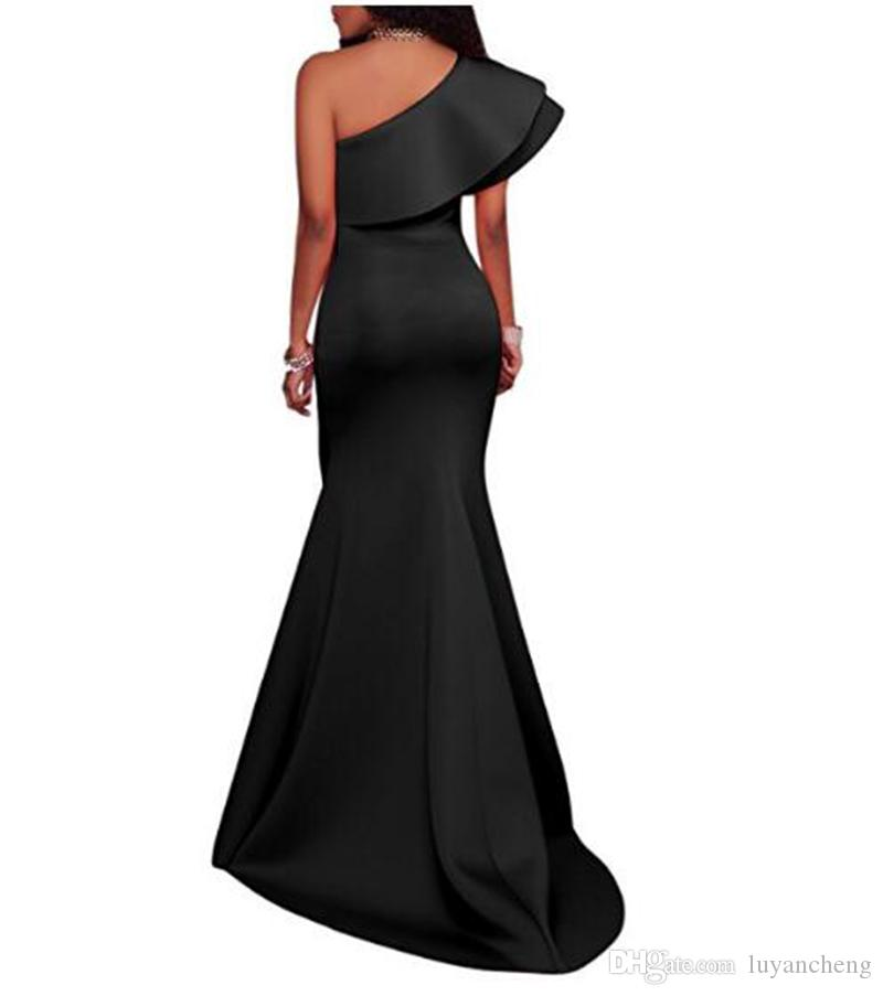 Sexy One Shoulder Mermaid Evening Dresses Red Carpet Dress Black Ruffles Prom Party Dress Party Wear Simple Evening Gowns Custom Made