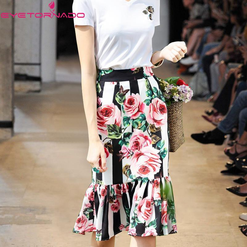 f1f69ed591b4 2019 2018 Women Floral Print Party Midi Skirt Slim Short Sexy Bodycon Work  Beach Mermaid Skirts Summer E1497 From Charle, $53.35 | DHgate.Com