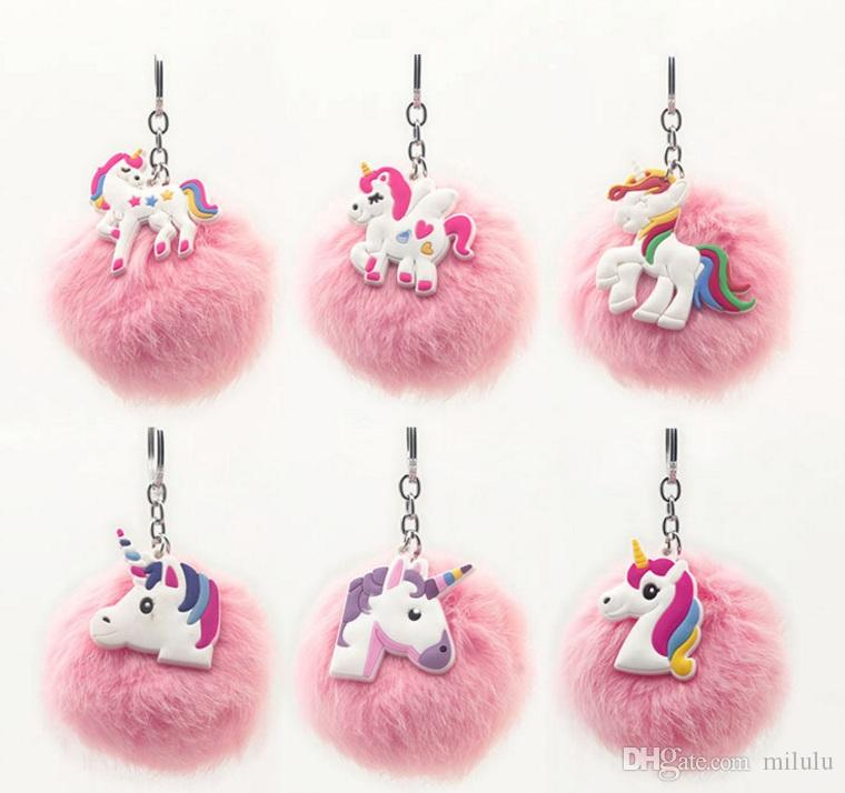 New Charm Women Fur Pompom Unicorn Keychain Fluffy Artificial Rabbit Fur Key Chains For Cars Bag Plush Keyrings Jewelry