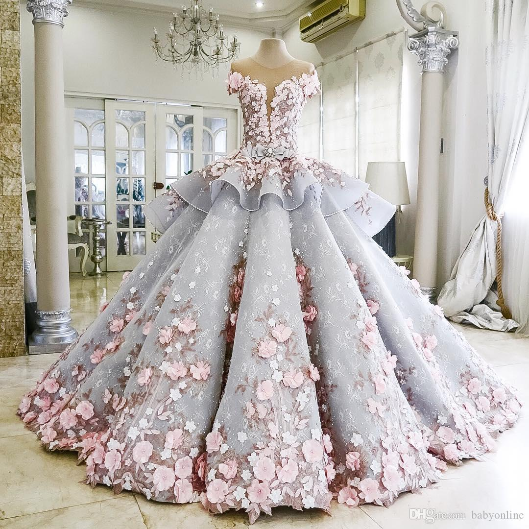 Exquisite 3D Floral Flowers Ball Gown Quinceanera Dresses Beaded Sheer Backless Brides Gowns Sweet Girls 16 Years Evening Prom Dress