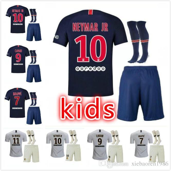 Cheap Thailand 2018 2019 Kids Mbappe VERRATTI CAVANI Children PSG Soccer  Jerseys Uniform Set 18 19 Kits Away DI MARIA Draxler Paris Football Shirt d69d9225a