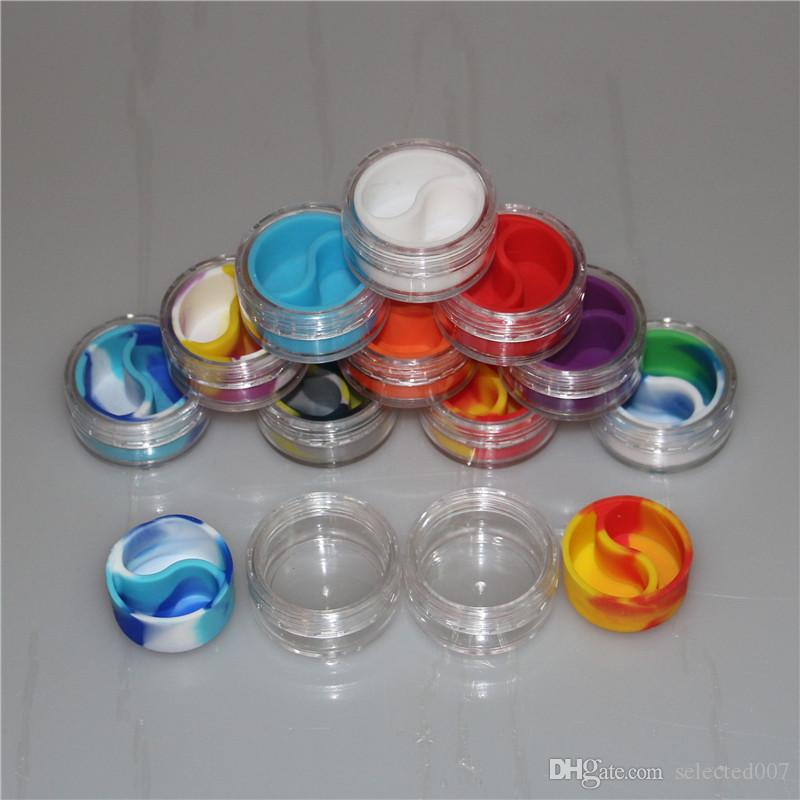 Silicone Jars Dab Wax Vaporizer Oil Container 10ml Non Stick Slick Silicon Concentrate Containers With Acrylic Shield