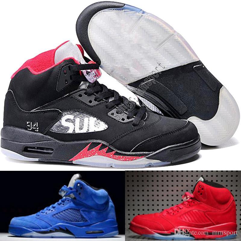 sale retailer d3ce2 4b913 Compre Comercio Al Por Mayor Nuevo Nike Air Jordan 5 5s V Olímpico Metálico  Oro Blanco Cemento Hombre Zapatillas De Baloncesto OG Negro Metallic Gamuza  Rojo ...