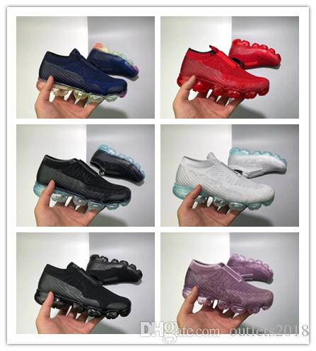 Laceless vapormax 2018 Platinum Kids running shoes Grey white Rainbow Infant & Children Sports shoes toddler trainer boy & girl sneaker
