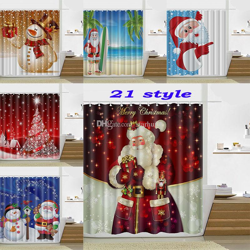2018 165180cm Christmas Shower Curtain Santa Claus Snowman Waterproof Bathroom Decoration With Hooks Free DHL WX9 107 From Starhui