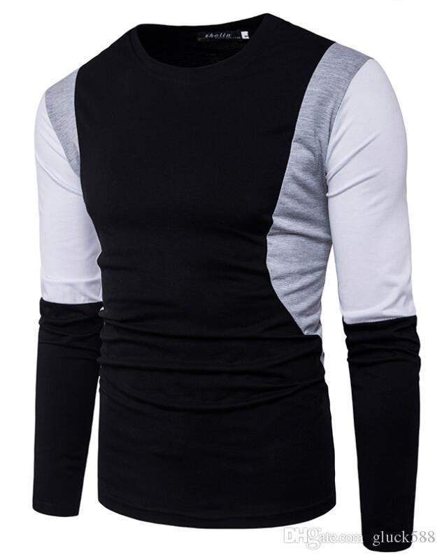 2017 tiro real de comercio exterior en ambos lados de las mangas del pecho color sólido de gran cuerpo camiseta casual de manga larga para hombre TX23