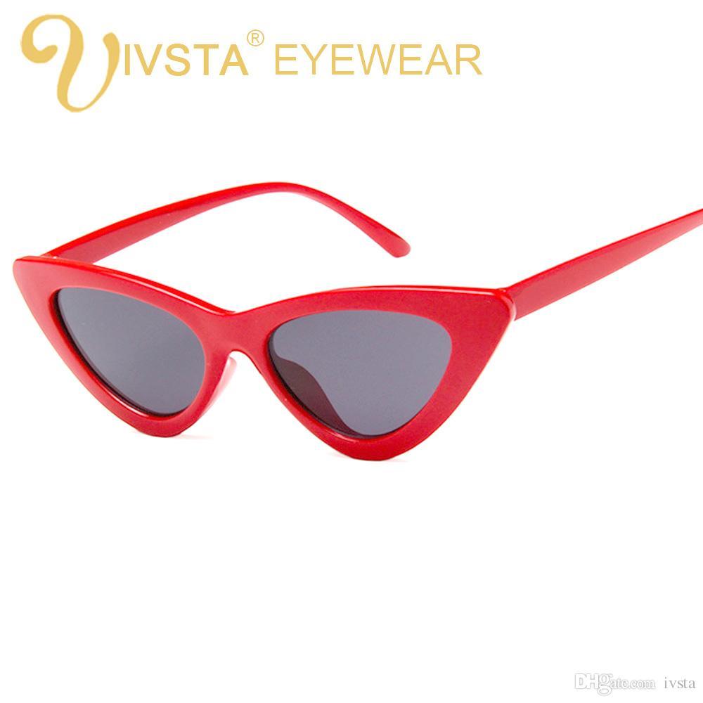 Compre IVSTA Bonito Retro Sexy Cat Eye Sunglasses Mulheres Pequeno 2018  Triângulo Do Vintage Barato Óculos De Sol Vermelho Feminino UV400 Senhoras  Marca ... b855664c37