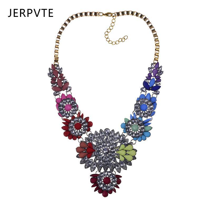 3f06bc9ab145 ... Del Arco Iris Flor Gargantilla Chunky Shourouk Collar Multicolor Cristal  Declaración Grandes Alas Collar Colgante A  17.57 Del Jinggongjewelry