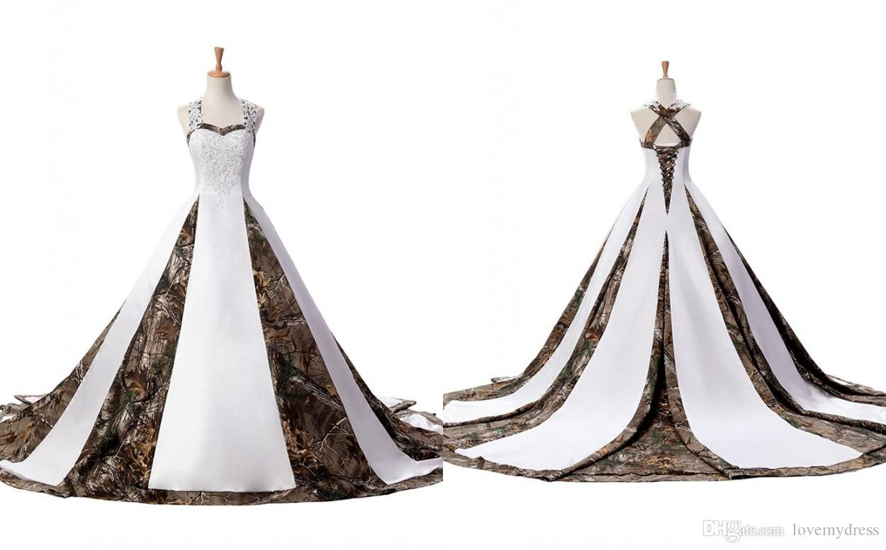 Modern Camo Wedding Dress Plus size Women With Straps Unique Back Designer  Corset Court Train Satin Applique Lace Cheap Bridal Gowns