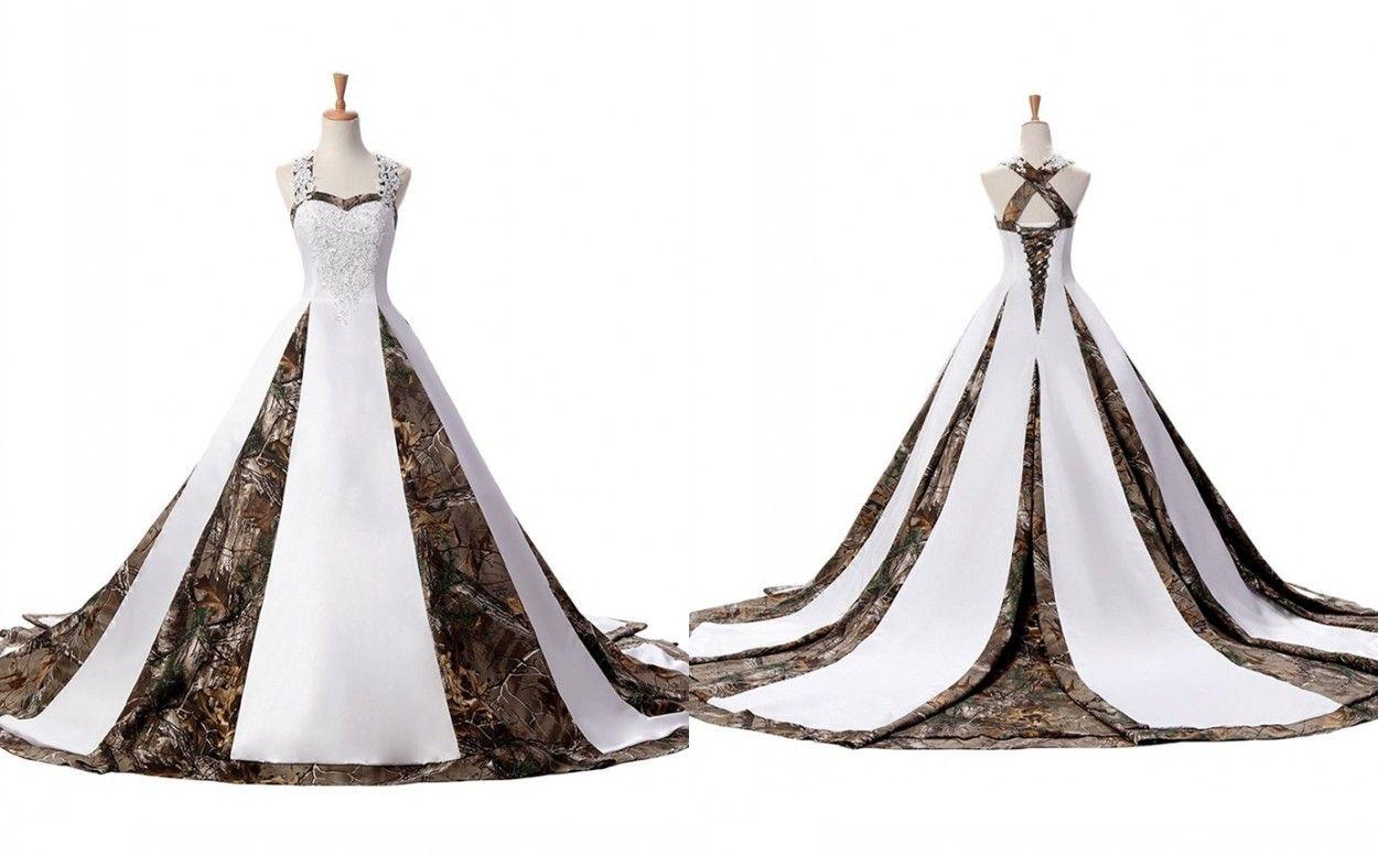 291b4b6bf8708 Discount Modern Camo Wedding Dress Plus Size Women With Straps Unique Back  Designer Corset Court Train Satin Applique Lace Cheap Bridal Gowns Latest  Wedding ...
