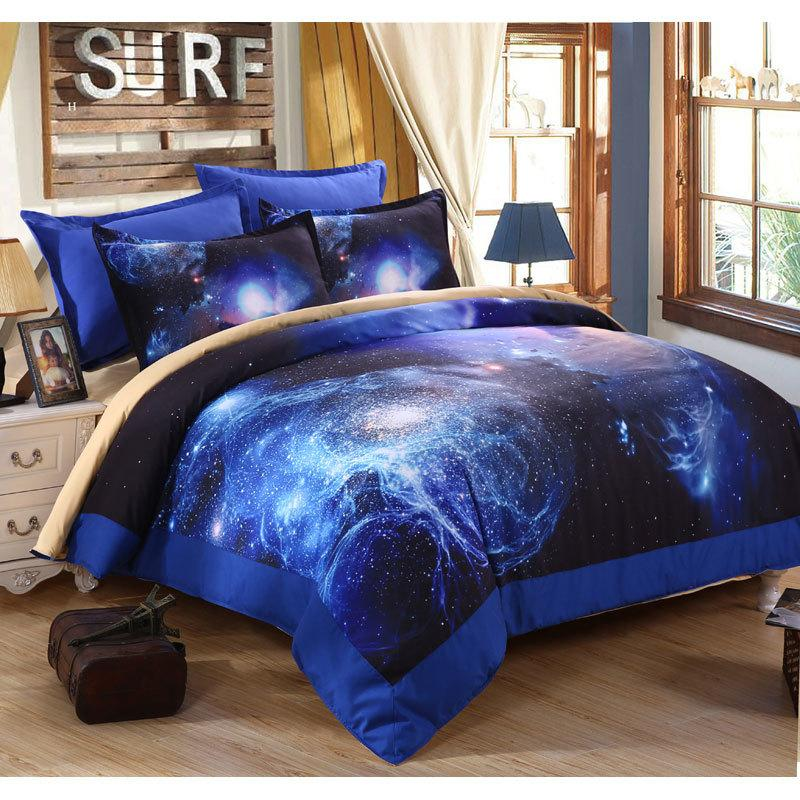 Amazing 3d Universe Outer Space Printed Blue Galaxy Bedding Set Quilt /Bed Sheets /  Pillowcases Luxury Bedding Sets Skateboard Bedding Embroidered Duvet Cover  From ...