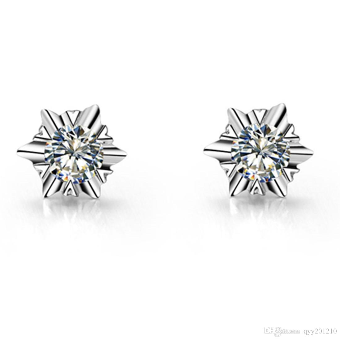 5b651544ae4c6 2019 Drop Shipping Snowflake Earrings Engagement Stud 0.3carat/Piece ...