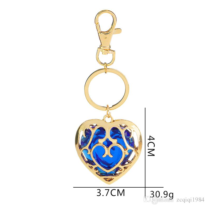 The Legend of Zelda Keychain Blue Red crystal keyring Skyward Sword Heart Container Pendant Jewelry Key Chain