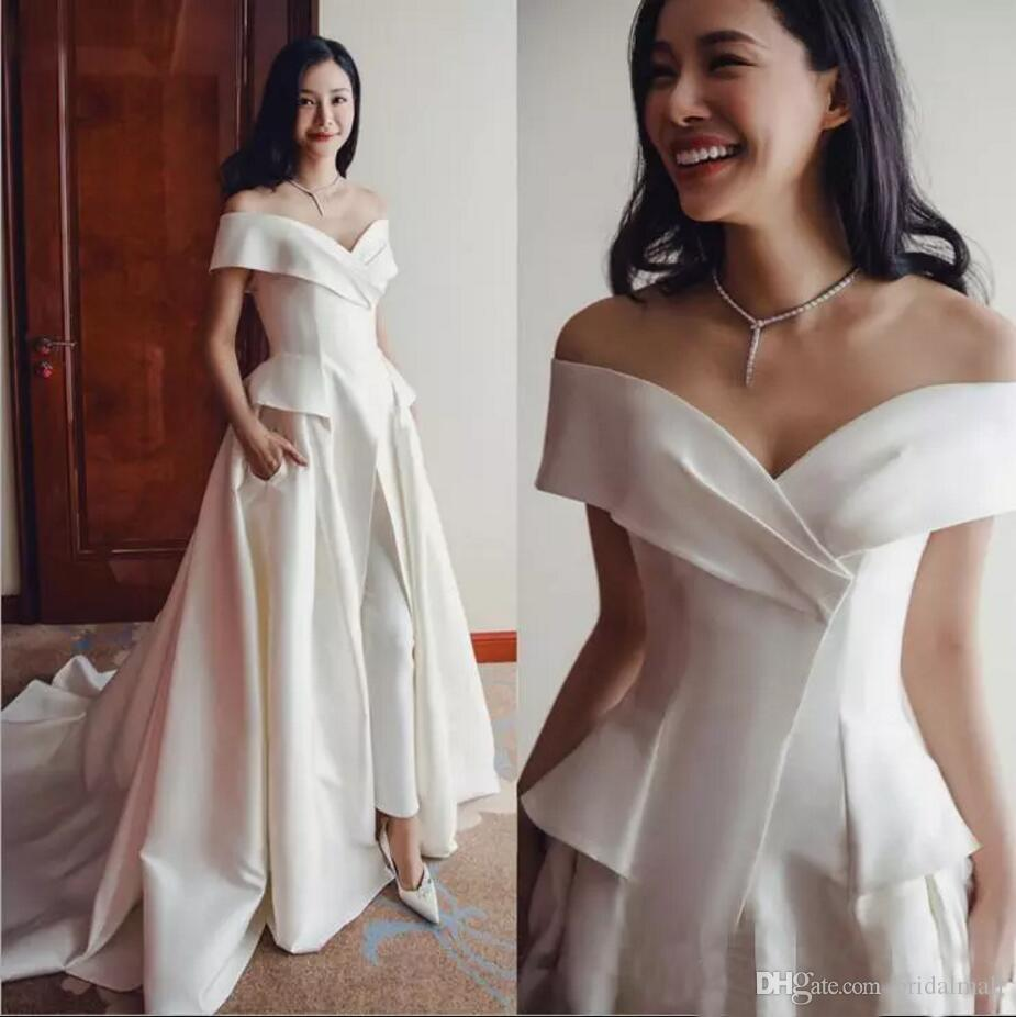 Real Images Off The Shoulder Evening Dresses 2019 Sleeveless Lady's Formal Jumpsuits For Bridal Guest Gowns Party Red Carpet Prom Dresses