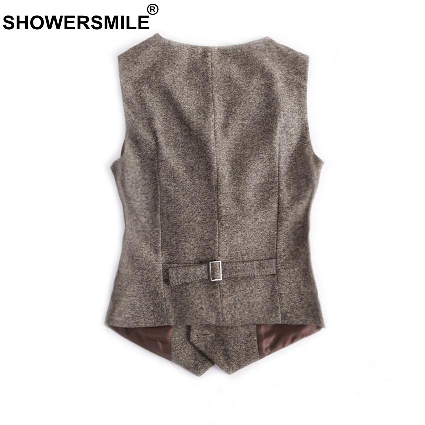 SHOWERSMILE Woolen Suit Vest Womens England Style Waistcoat Plus Size 3XL Spring Autumn Sleeveless Jacket Ladies Gilet