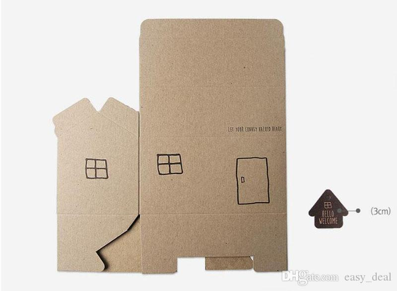 Creative White/Brown Home Paper Wedding Candy Box Beautiful House Wedding Favour Cupcake Candy Gift Boxes Supply QW7075