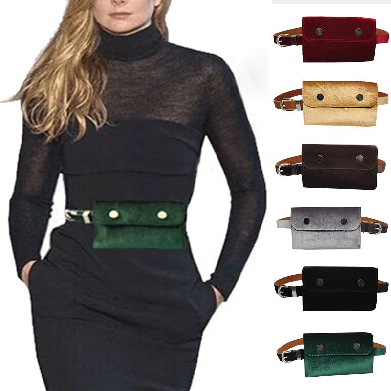 4e85c5a6b942 2018 Fashion Waist Bag Women Velour Waist Fanny Pack for Women Fashion  Retro Velvet Hip Bum Belt Bag Blue Black