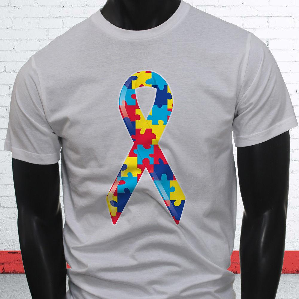 Puzzle Children Love Cancer Chemo Autism Awareness Ribbon Mens White