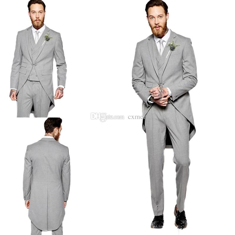 50% off biggest selection bright n colour Men Suits Grey Long Tailcoat Wedding Groom Tuxedos Jacket Custom Made  Morning Dinner Groomsmen Suits 3 Pieces Classic Pants Best Man