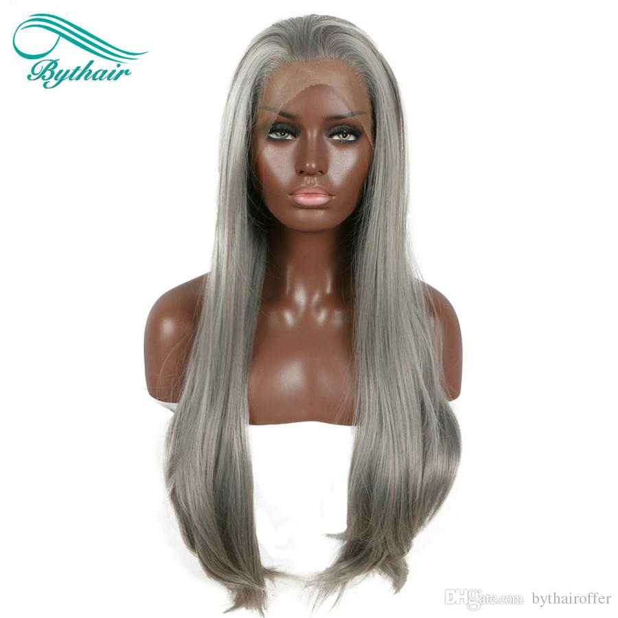 Bythairshop Long Gray Synthetic Lace Front