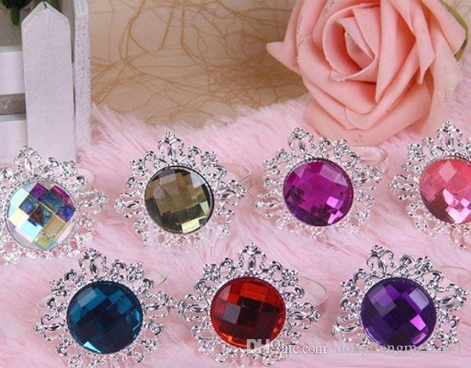 Table Decoration Light Purple Diamond Gem Napkin Rings Serviette Holder for Wedding Banquet Dinner party J148C