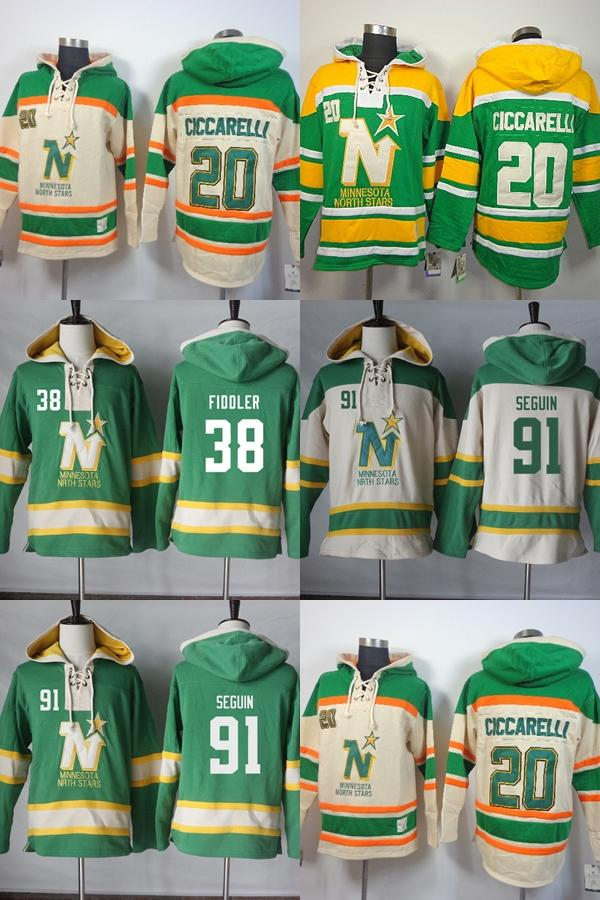 2019 Hot Sale Mens Minnesota North Stars 20 Dino Ciccarelli 38 Mike Fidler  91 Tyler Seguin Beige Green Stitched Ice Hockey Hoodies From Cbssport 4912988ea