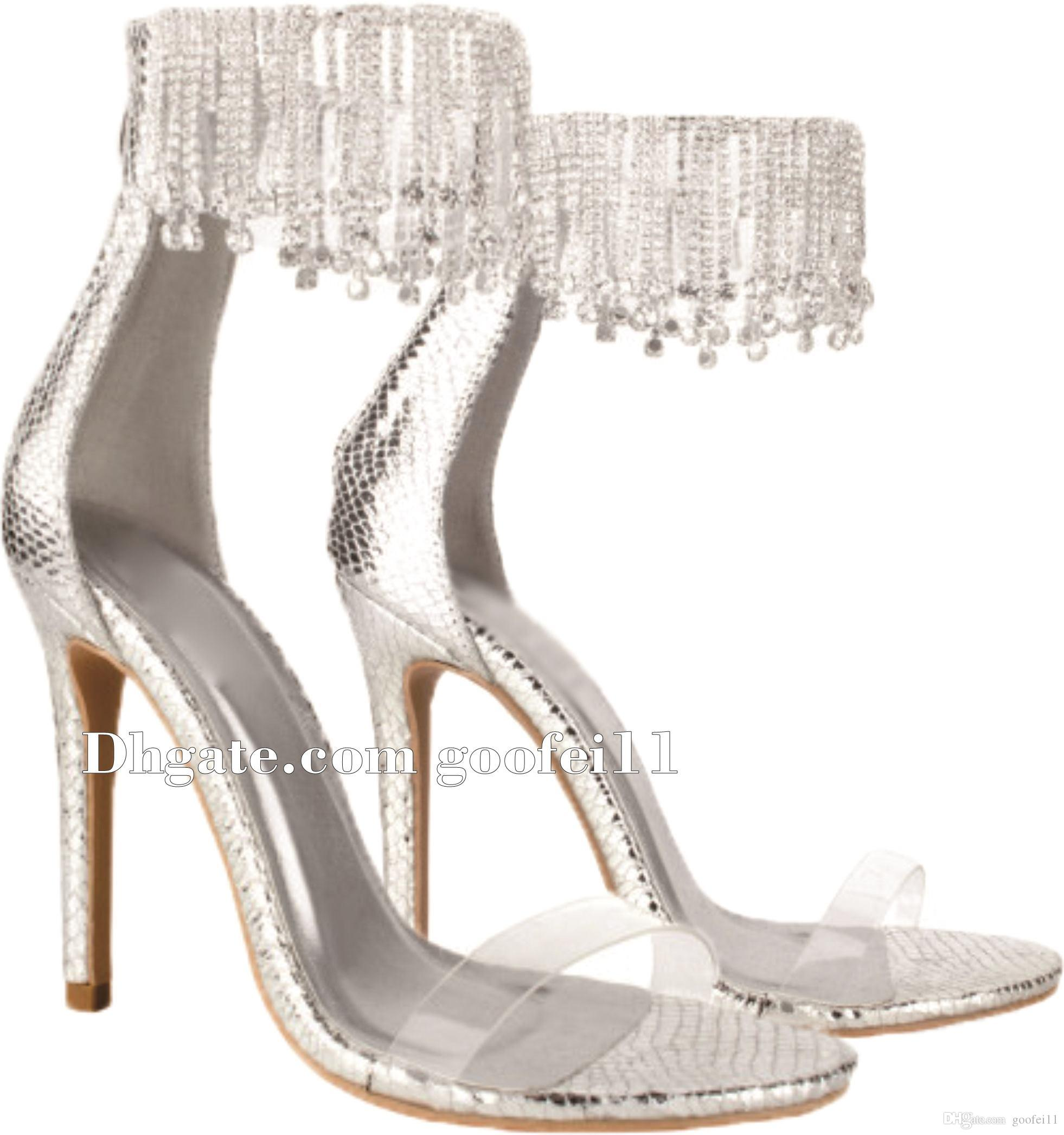 41431243d78 Women Luxurious Bling Bling Fringe Style Rhinestone Gladiator Sandals Gold  Silver Crystal Super High Heel Sandals Wedding Shoes Ladies Shoes Red Shoes  From ...