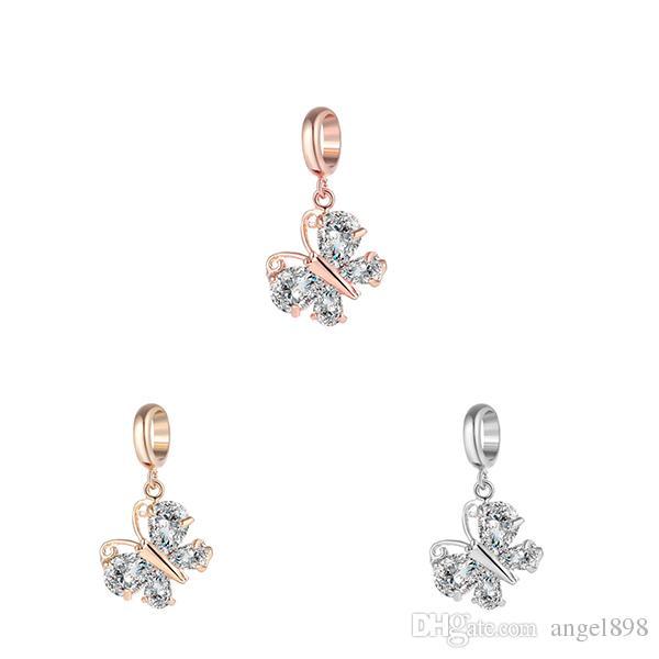 Anjo bola Infinito Encantos 3 Cores Bracelet Charme Incrustada CZ Pedra Material De Bronze Não-desvanecimento Borboleta Jóias Intercambiáveis
