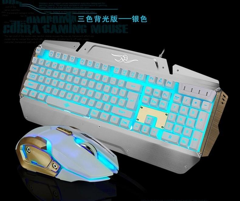 2700 Metal Backlit Keyboard And Mouse Set Mechanical Hand Wired ...
