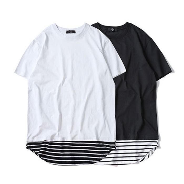 New Streetwear Men Extended T Shirt Striped Curved Hem Long Line Tops Short  Sleeve Casual Long Tees White Black Urban Plain Shirt TXH0329 Shop For T  Shirts ... 55673adeb97